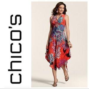 Chico's Tropical Garden Floral Handkerchief Dress